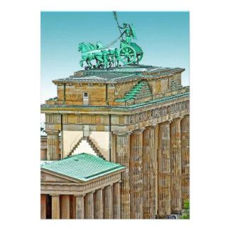 Brandenburg Gate Chariot and Columns, Berlin, Blue Invitation