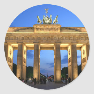 brandenburg gate evening classic round sticker