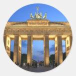 brandenburg gate evening round sticker