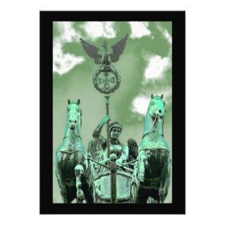 Brandenburg Gate,Horse & Chariot,Berlin,Green Sky Personalized Announcement