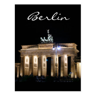 brandenburg night berlin postcard
