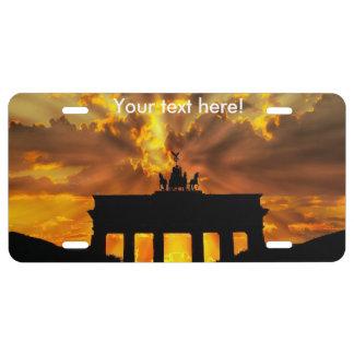 Brandenburger Gate at sunset, Berlin License Plate