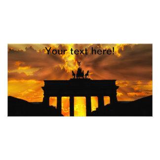 Brandenburger Gate at sunset, Berlin Custom Photo Card