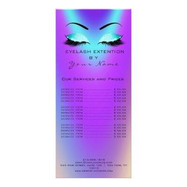 McTiffany Tiffany Aqua Branding Price List Lashes Extension Blue Pink Rack Card