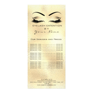 Branding Price List Lashes Extension Gold Makeup Rack Card