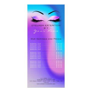 McTiffany Tiffany Aqua Branding Price List Lashes Extension Miami Ocean Rack Card