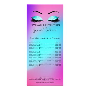 McTiffany Tiffany Aqua Branding Price List Lashes Extension Ombre Pink Rack Card