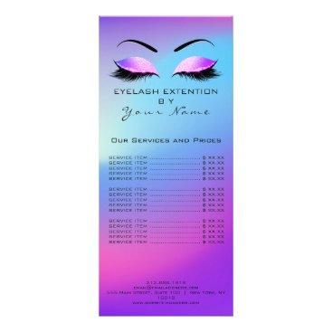McTiffany Tiffany Aqua Branding Price List Lashes Extension Pink Blue Rack Card