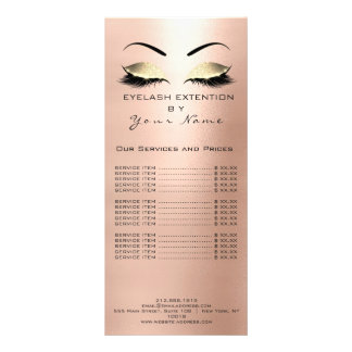 Branding Price List Lashes Extension Pink Rose Rack Card
