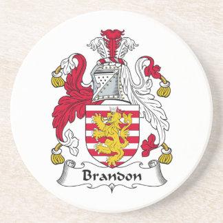Brandon Family Crest Drink Coaster