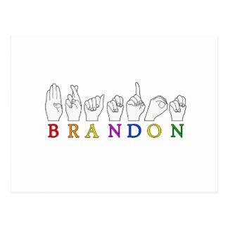 BRANDON FINGERSPELLED ASL SIGN POSTCARD