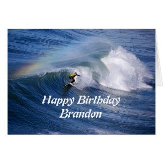 Brandon Happy Birthday Surfer With Rainbow Cards