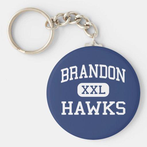 Brandon Hawks Ortonville medio Michigan Llavero Redondo Tipo Pin