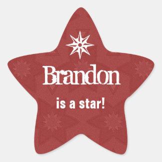 BRANDON is a Star  - Custom Name Red Star G504 Star Sticker