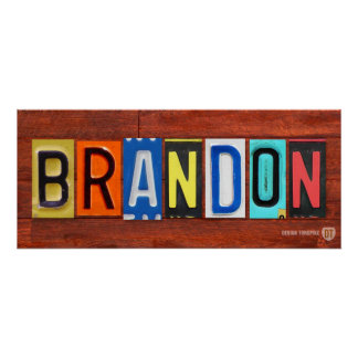 BRANDON License Plate Letter Name Sign Poster