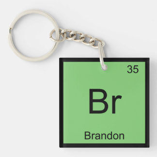 Brandon Name Chemistry Element Periodic Table Single-Sided Square Acrylic Keychain
