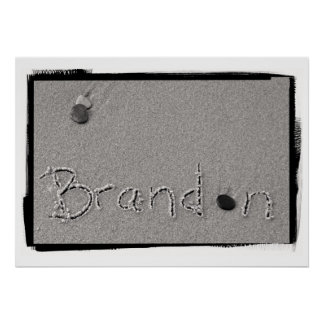 Brandon Name in Beach Sand Writing Poster
