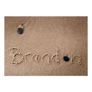 Brandon Name in Beach Sand Writing Posters