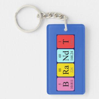 Brandt periodic table name keyring Single-Sided rectangular acrylic key ring