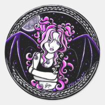 myka, jelina, gothic, fantasy, winged, pixie, bat, fae, fairy, dark, art, Sticker with custom graphic design