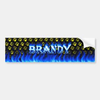 Brandy blue fire and flames bumper sticker design. car bumper sticker