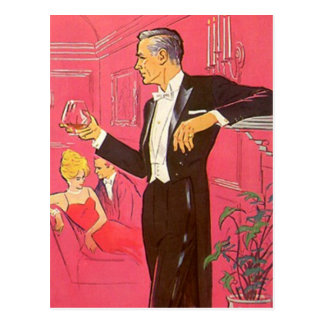 Brandy de la casa abierta del cóctel del vintage d tarjeta postal