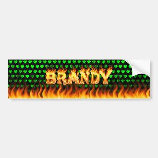 Brandy real fire and flames bumper sticker design car bumper sticker