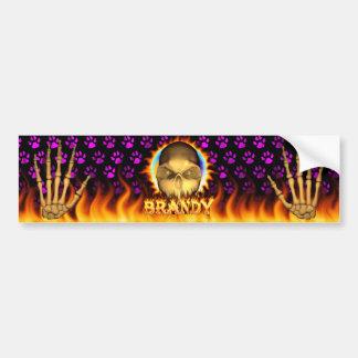 Brandy skull real fire and flames bumper sticker. bumper sticker