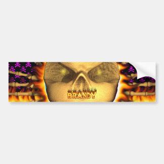 Brandy skull real fire and flames bumper sticker. car bumper sticker