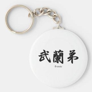 Brandy traducido a símbolos japoneses del kanji llaveros personalizados