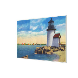 Brant Point Lighthouse Scene Stretched Canvas Print