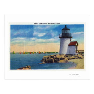 Brant Point Lighthouse Scene Postcard