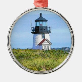 Brant Point Lighthouse Vintage Nantucket Metal Ornament