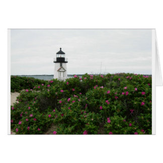 Brant Point Lighthouse with flowers Card