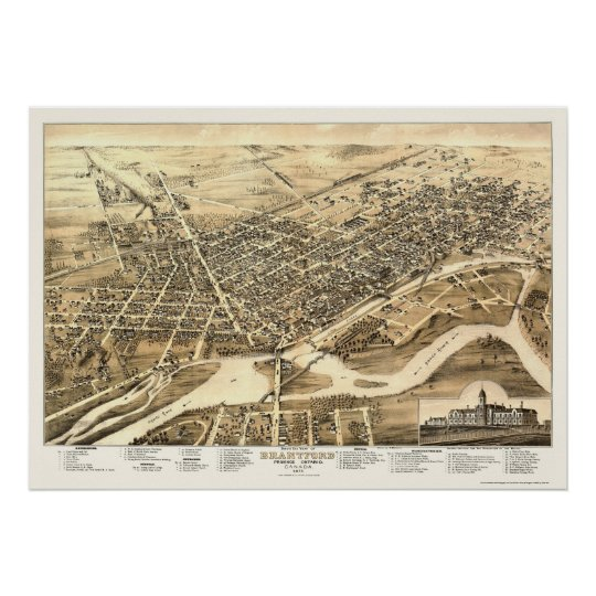 Brantford, ON, Canada Panoramic Map - 1875 Poster