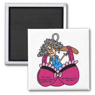 Bras and Wrinkles Humor 2 Inch Square Magnet