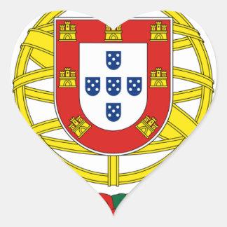 Brasão de Armas (Coat of Arms) de Portugal Heart Sticker
