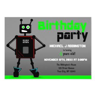 Brash Robot Boys Birthday Party Invitations