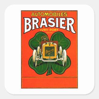 Brasier Motor Car ~ Vintage Automobile Ad Square Sticker