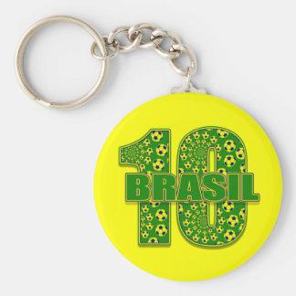 Brasil 10 - Brazil number 10 soccer futbol gifts Basic Round Button Keychain