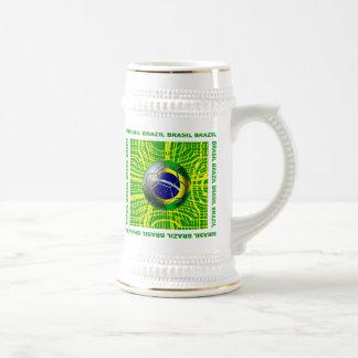 Brasil Brazil Soccer ball in the net artwork gifts Beer Stein