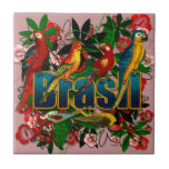Brasil Brazil Tropical floral rainforest birds art Tiles