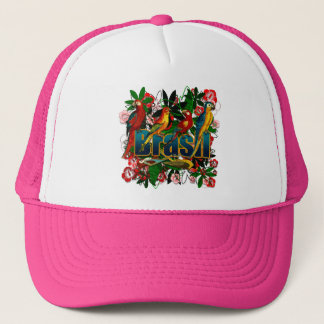 Brasil Brazil Tropical floral rainforest birds art Trucker Hat