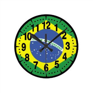 Brasil Flag Round Clock