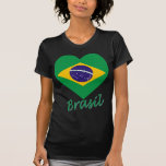 Brasil Flag Heart T-Shirt