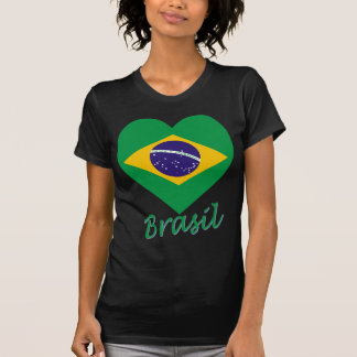 Brasil Flag Heart Tee Shirt