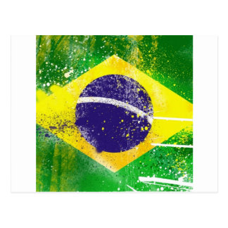 Brasil flag paint. postcard