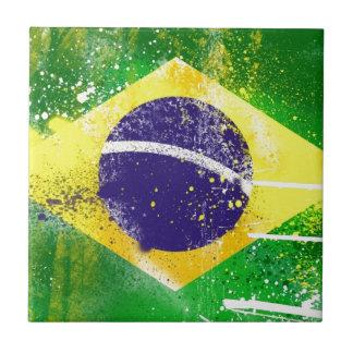Brasil flag paint. small square tile