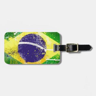 Brasil flag paint. travel bag tags