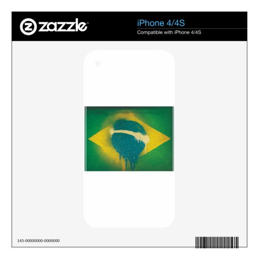 Brasil Flag Spray Paint Skins For The iPhone 4S